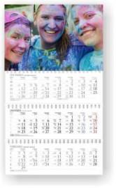 Sekciju sienas kalendārs ar noplēšamām mēnešu lapām 300x520mm, 1+3 daļas